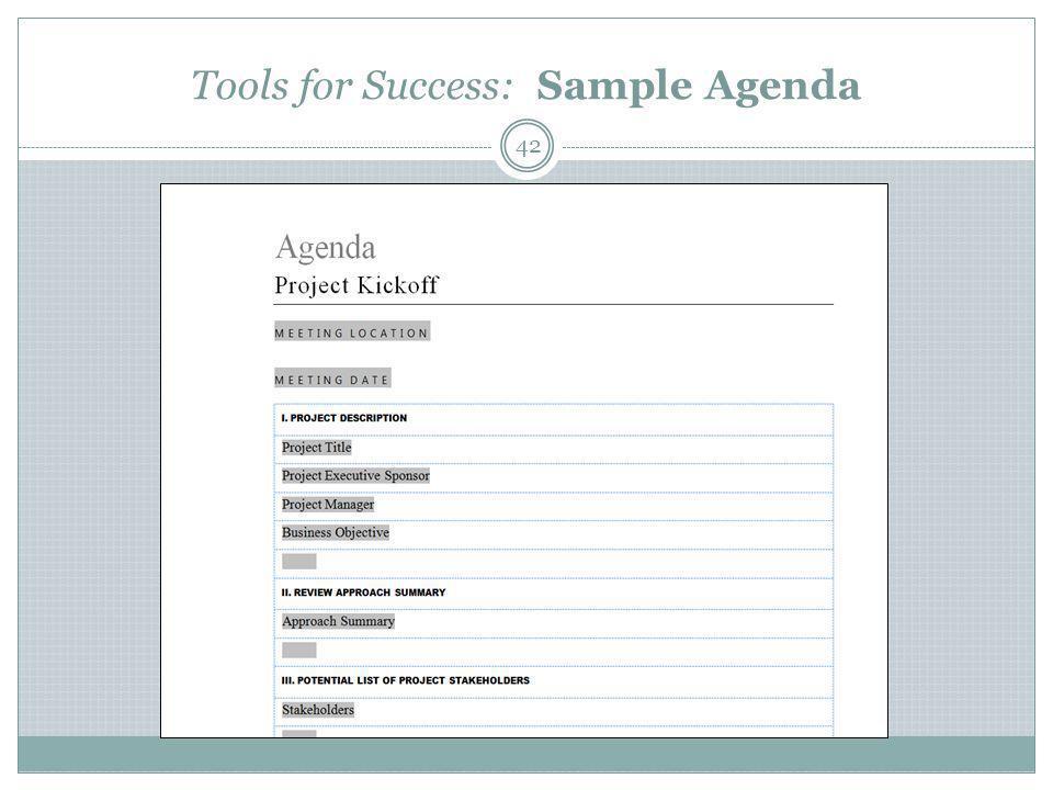 Tools for Success: Sample Agenda