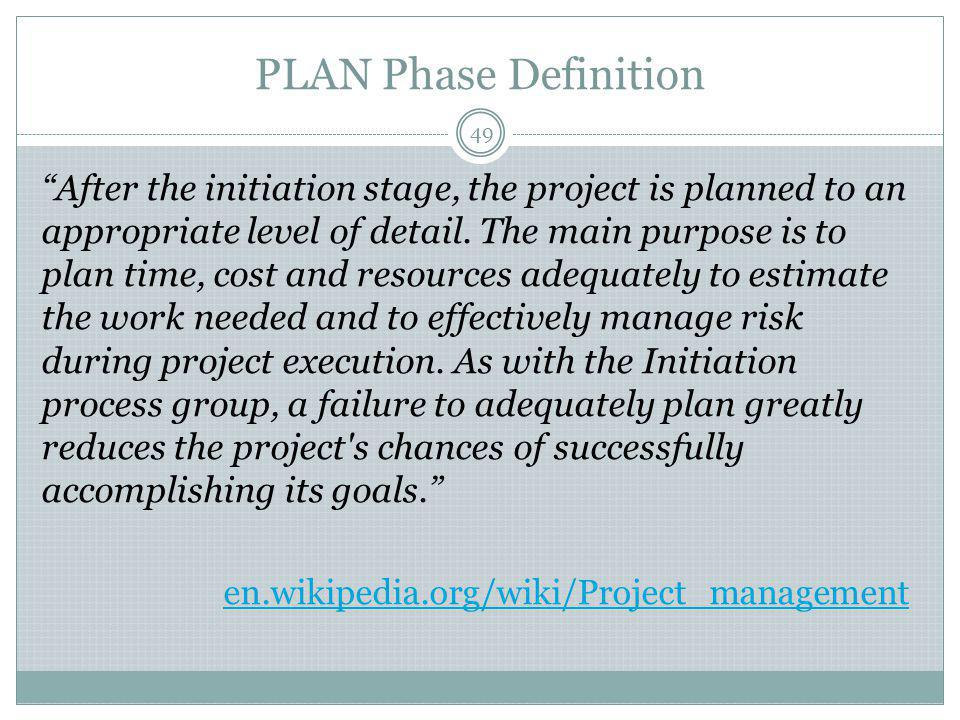 PLAN Phase Definition