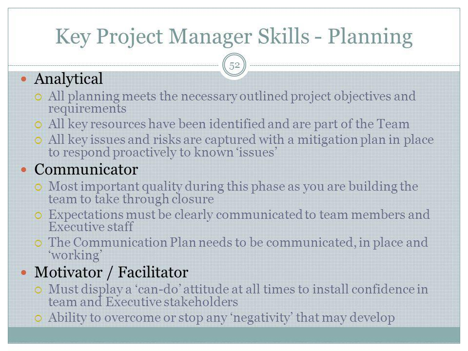 Key Project Manager Skills - Planning