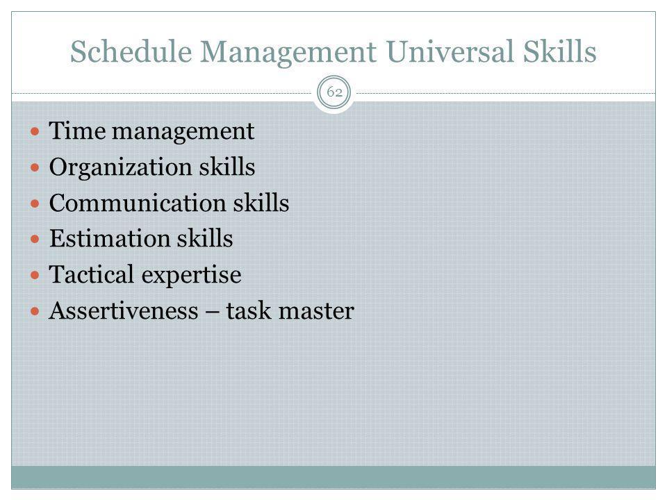 Schedule Management Universal Skills