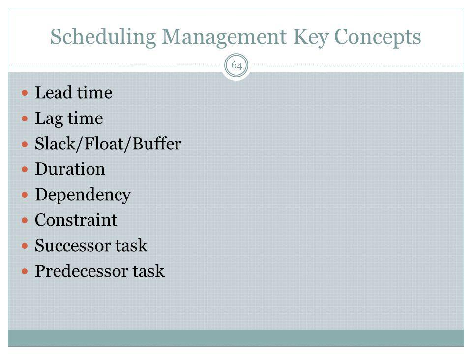 Scheduling Management Key Concepts