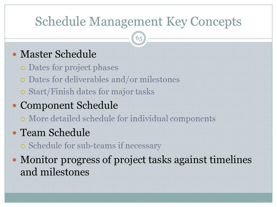 Schedule Management Key Concepts