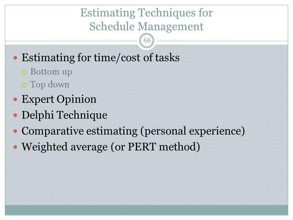 Estimating Techniques for Schedule Management
