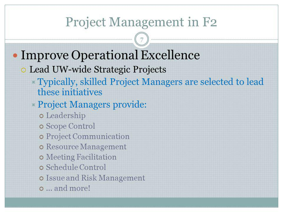 Project Management in F2