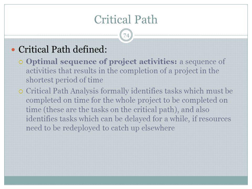 Critical Path Critical Path defined: