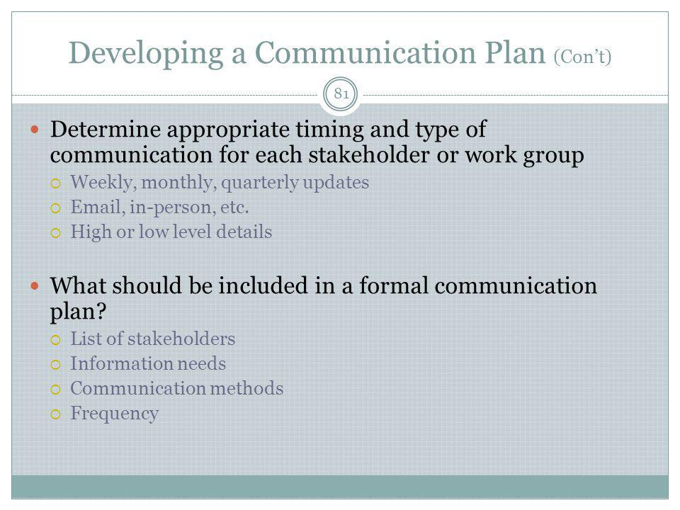 Developing a Communication Plan (Con't)