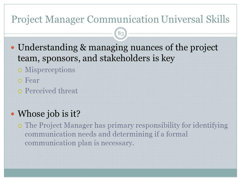 Project Manager Communication Universal Skills