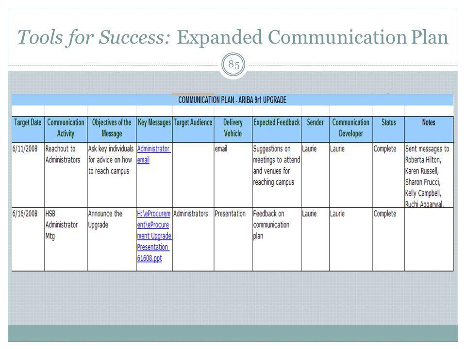 Tools for Success: Expanded Communication Plan