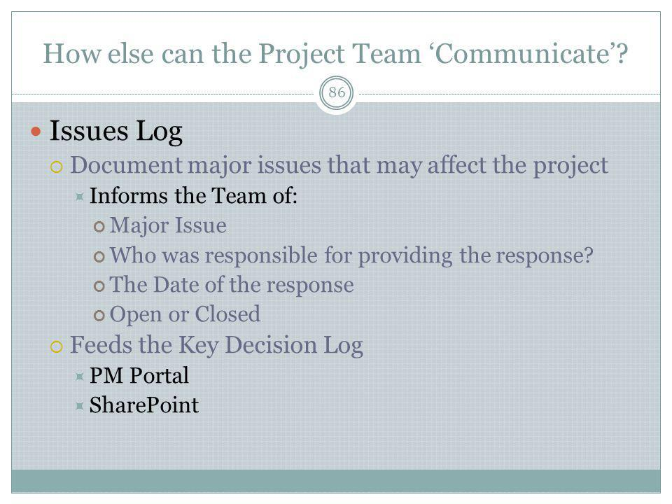 How else can the Project Team 'Communicate'