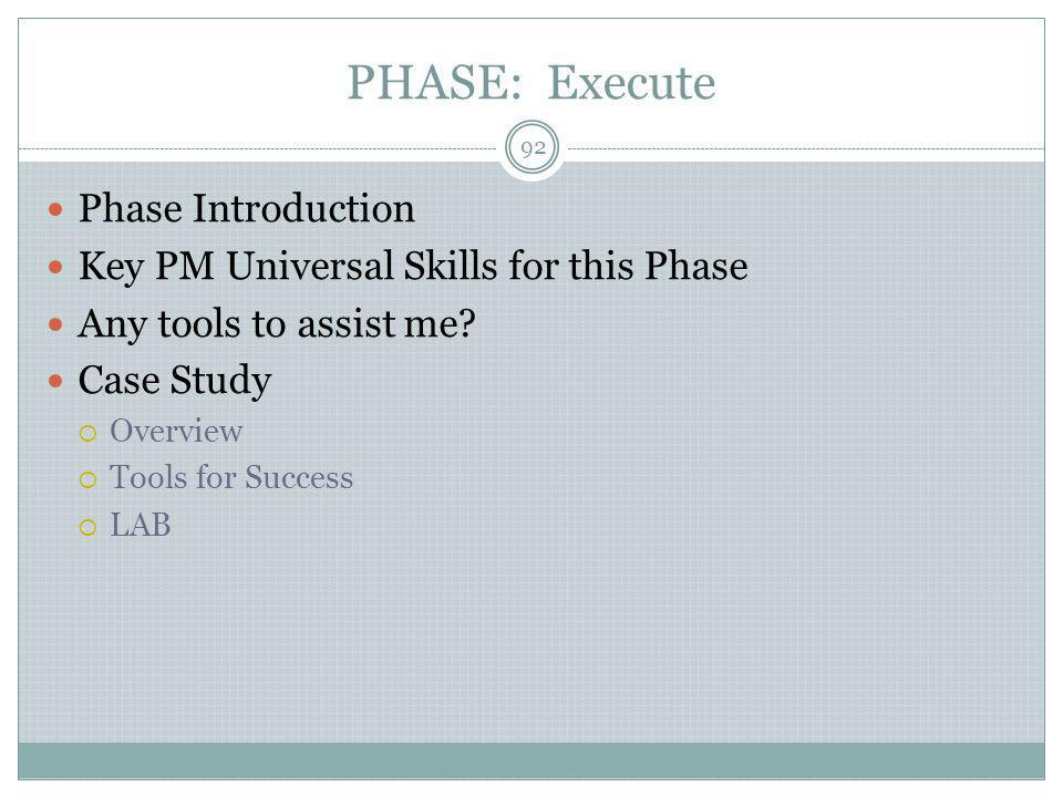 PHASE: Execute Phase Introduction