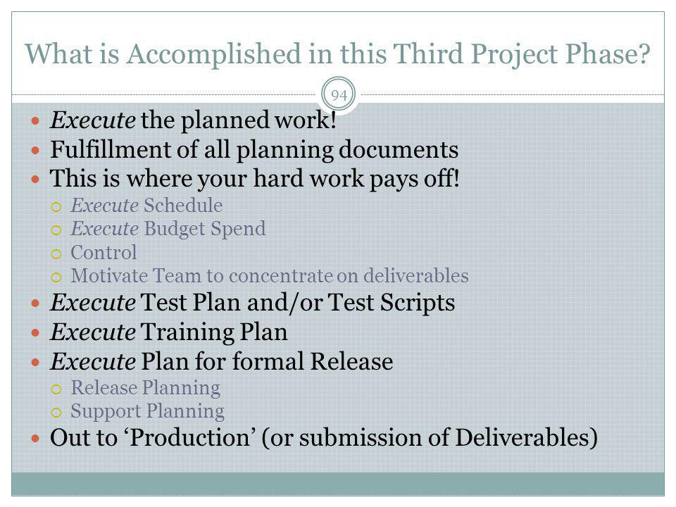 What is Accomplished in this Third Project Phase