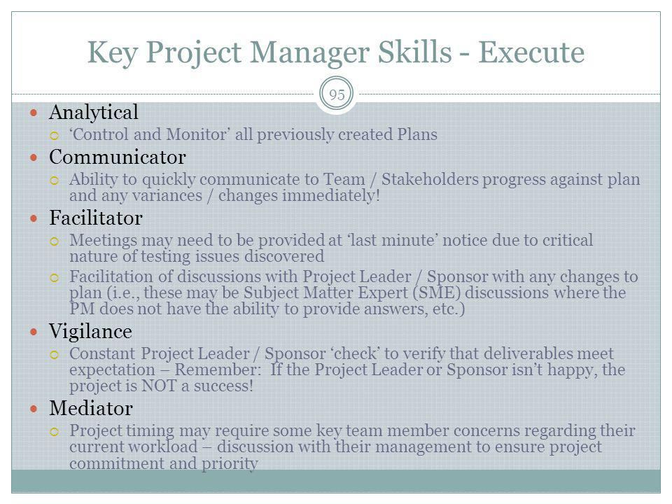 Key Project Manager Skills - Execute