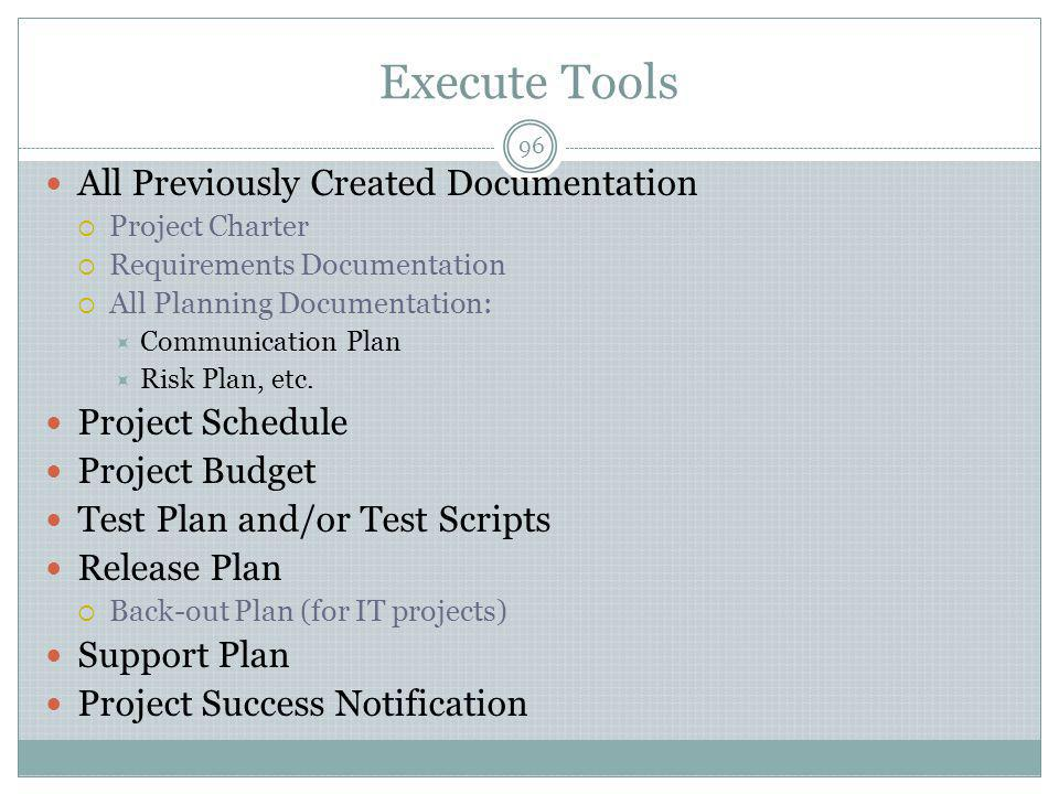 Execute Tools All Previously Created Documentation Project Schedule