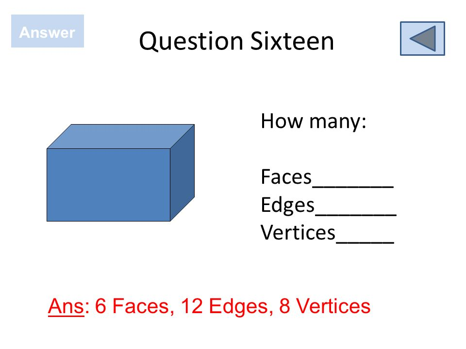 Question Sixteen How many: Faces_______ Edges_______ Vertices_____