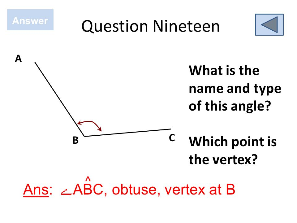 Question Nineteen What is the name and type of this angle