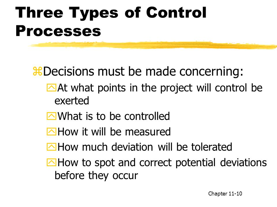 Three Types of Control Processes