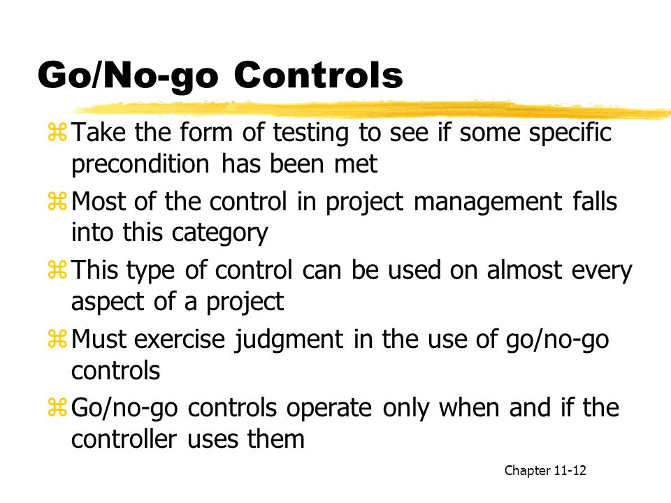 Go/No-go Controls Take the form of testing to see if some specific precondition has been met.