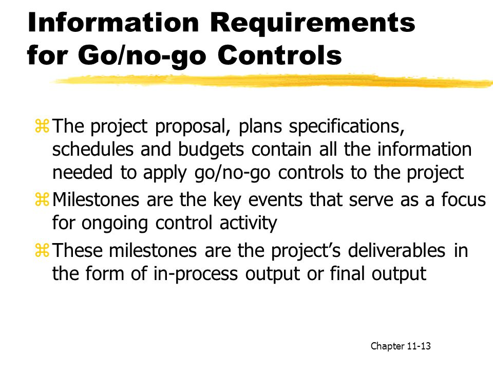 Information Requirements for Go/no-go Controls
