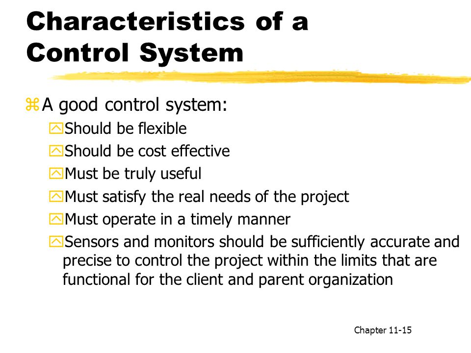 Characteristics of a Control System