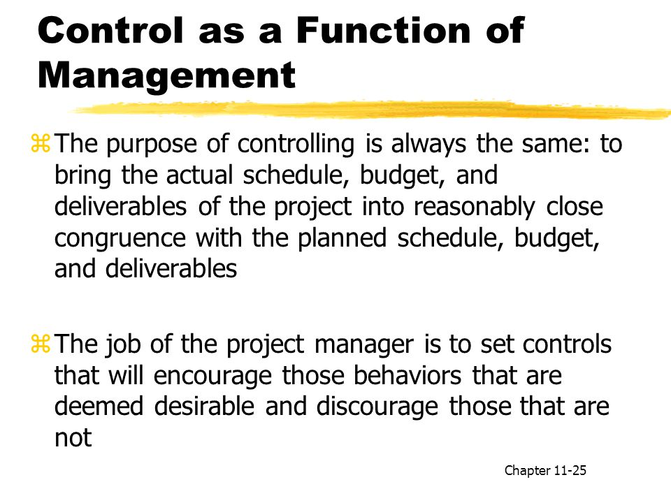 Control as a Function of Management