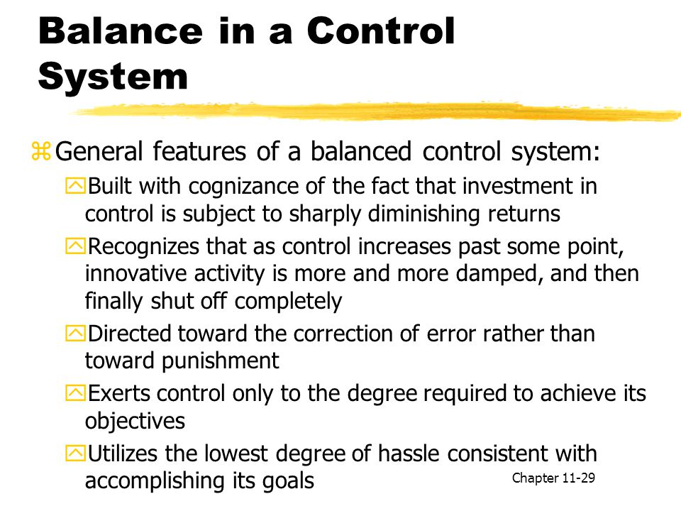 Balance in a Control System
