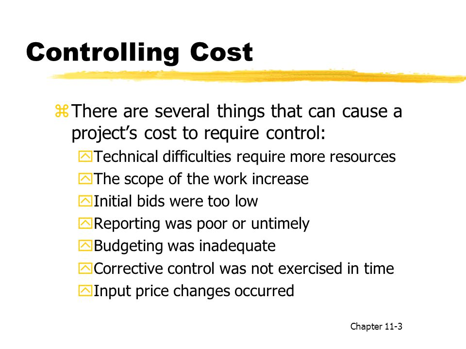 Controlling Cost There are several things that can cause a project's cost to require control: Technical difficulties require more resources.