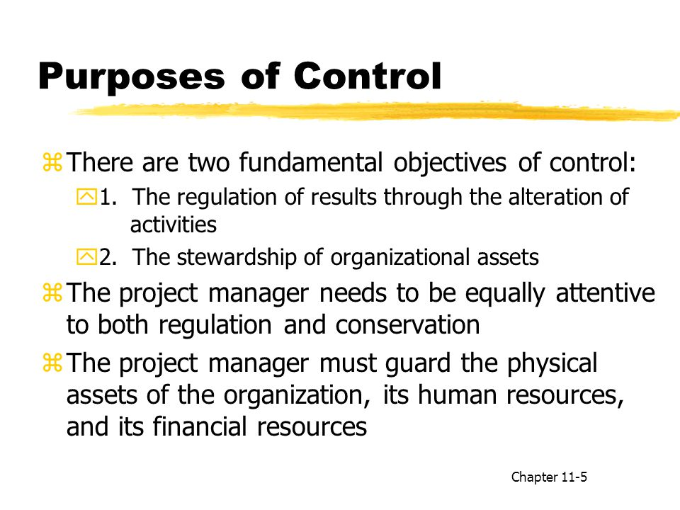 Purposes of Control There are two fundamental objectives of control: