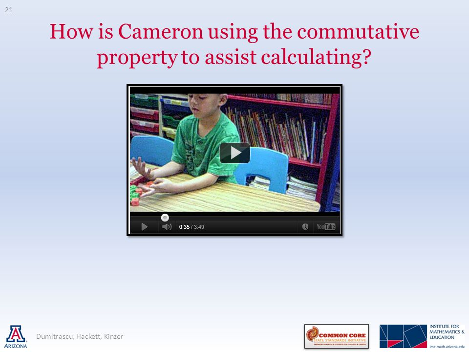 How is Cameron using the commutative property to assist calculating