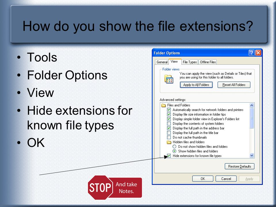 How do you show the file extensions