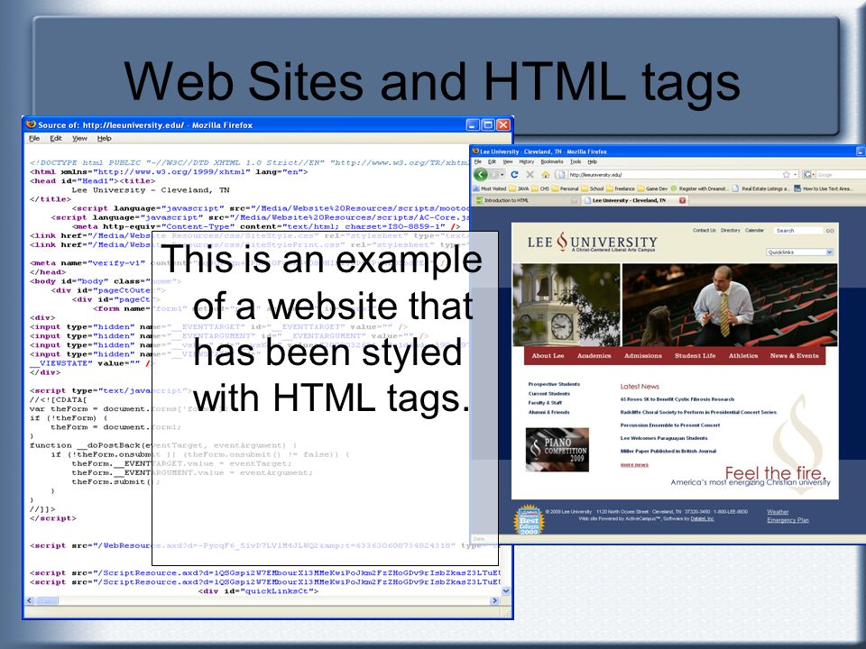 Web Sites and HTML tags This is an example of a website that has been styled with HTML tags.