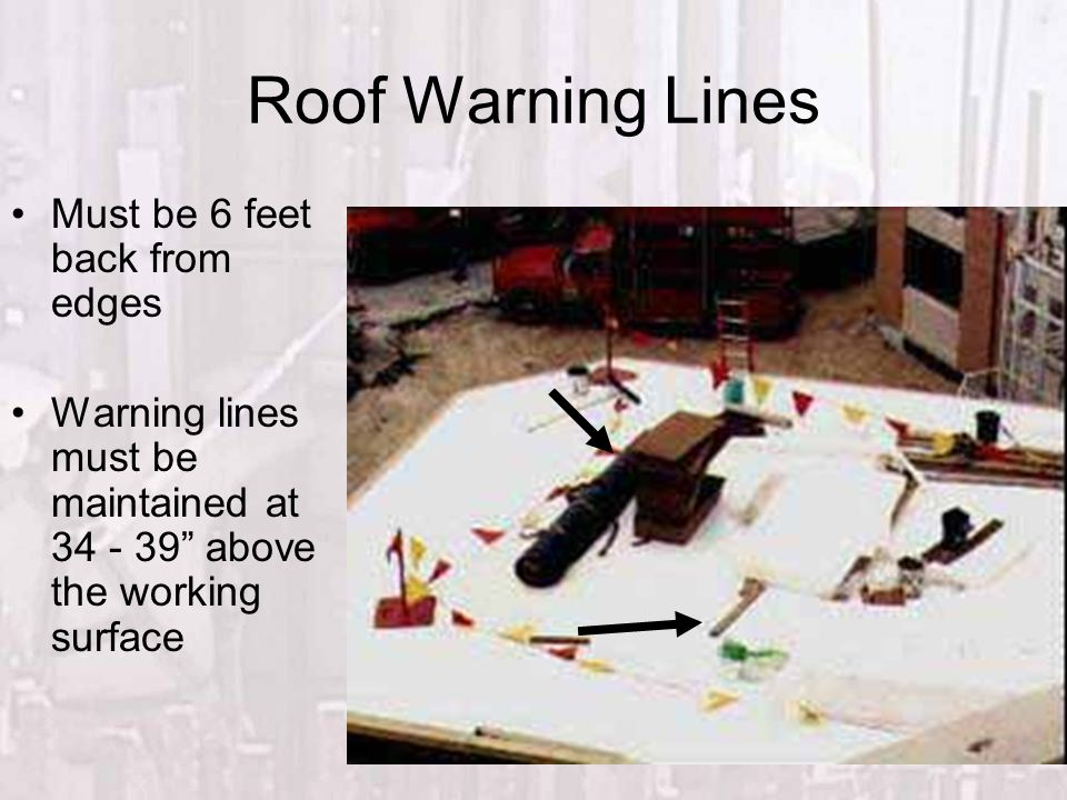 Roof Warning Lines Must be 6 feet back from edges