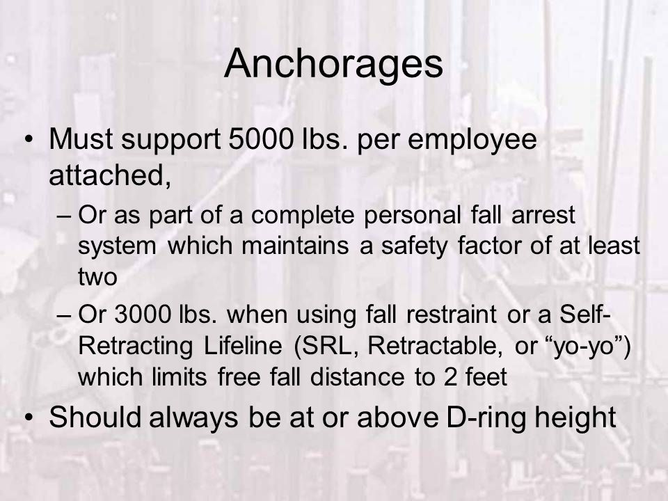 Anchorages Must support 5000 lbs. per employee attached,