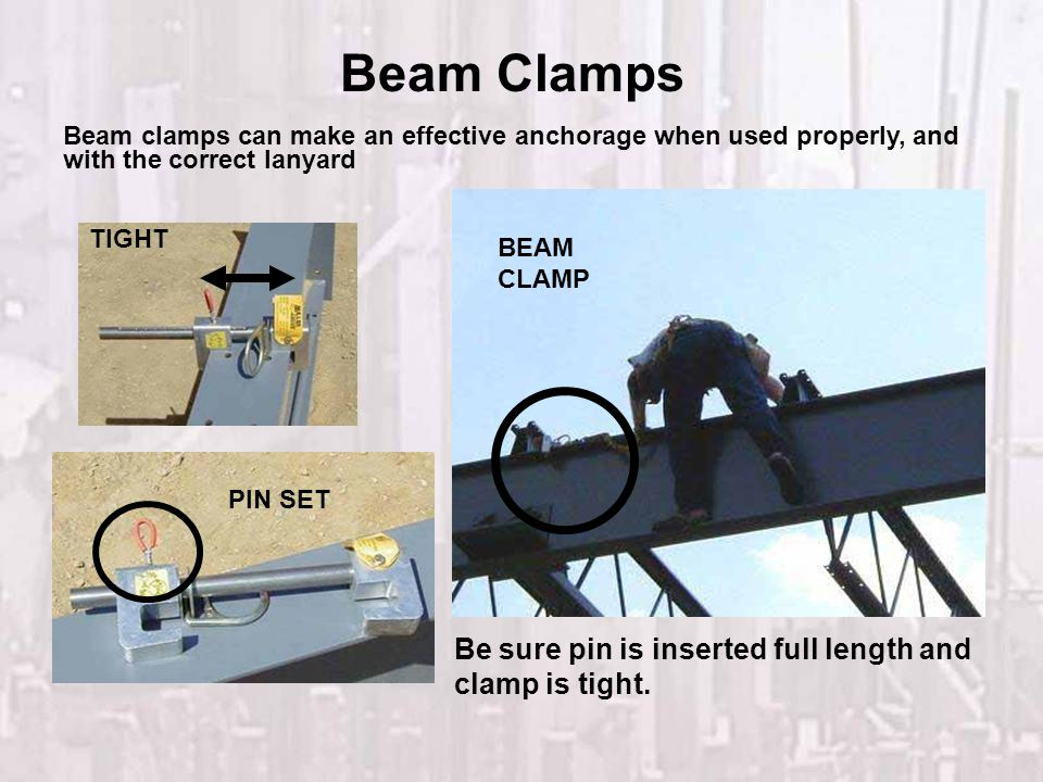 Beam Clamps Be sure pin is inserted full length and clamp is tight.