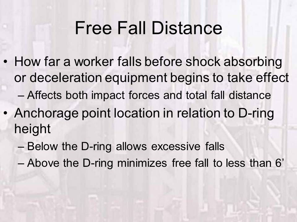 Fall Protection Free Fall Distance. How far a worker falls before shock absorbing or deceleration equipment begins to take effect.