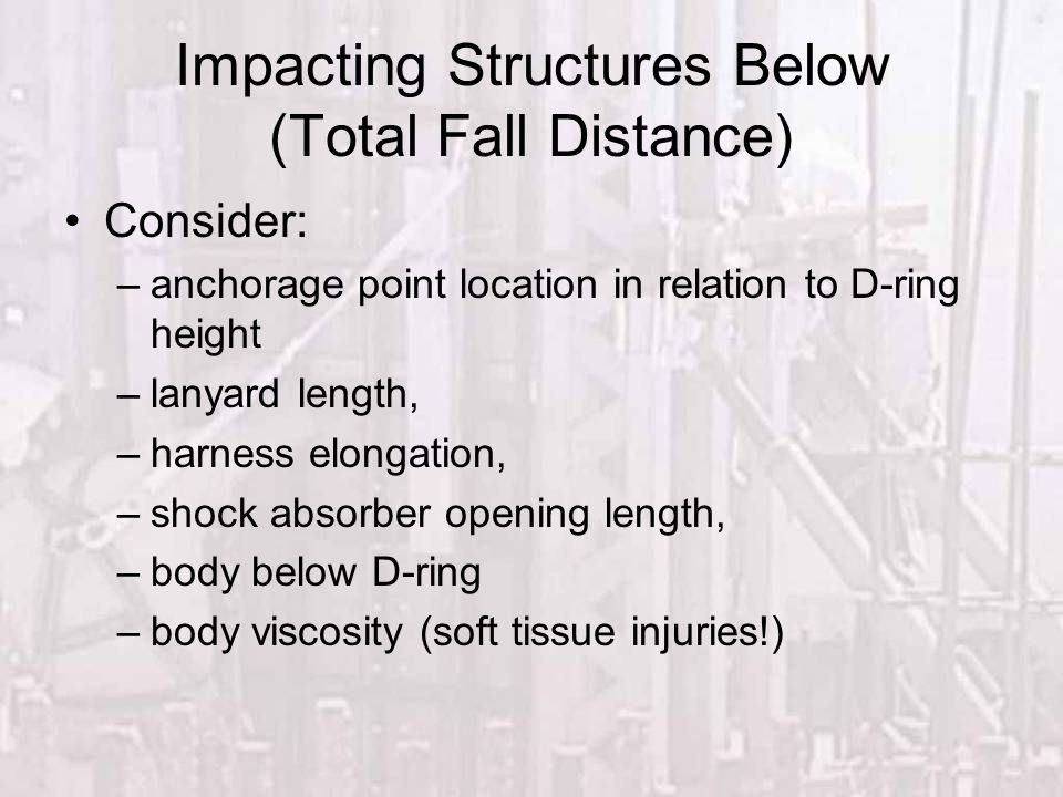 Impacting Structures Below (Total Fall Distance)