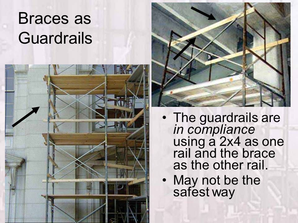 Fall Protection Braces as Guardrails. The guardrails are in compliance using a 2x4 as one rail and the brace as the other rail.