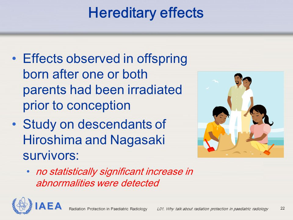Hereditary effects Effects observed in offspring born after one or both parents had been irradiated prior to conception.