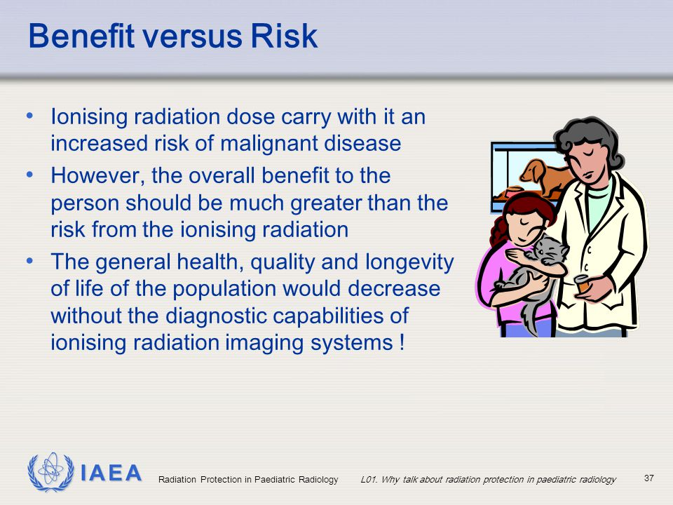 Benefit versus Risk Ionising radiation dose carry with it an increased risk of malignant disease.