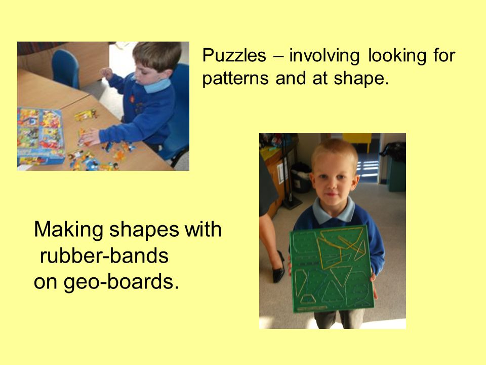 Making shapes with rubber-bands on geo-boards.