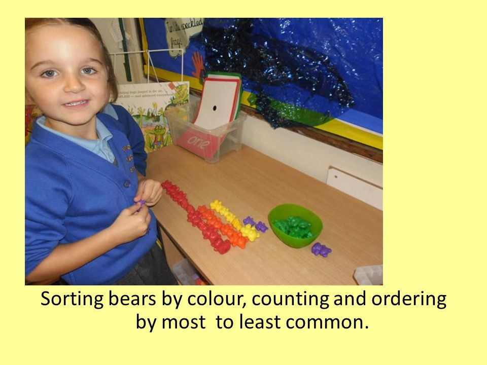Sorting bears by colour, counting and ordering by most to least common.