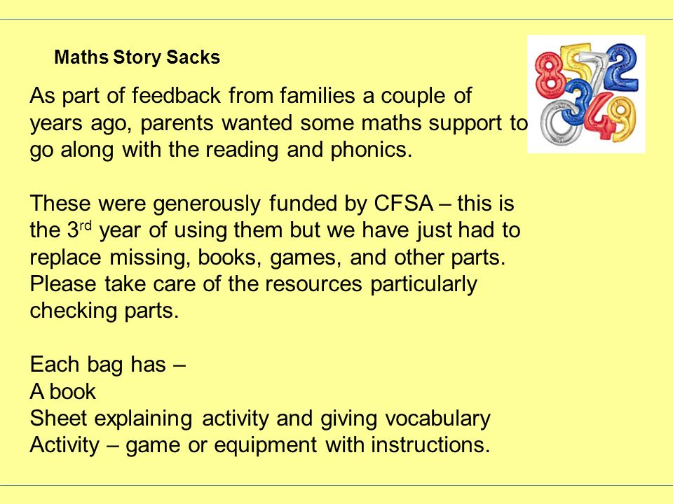 Sheet explaining activity and giving vocabulary