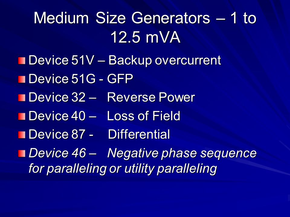 Medium Size Generators – 1 to 12.5 mVA