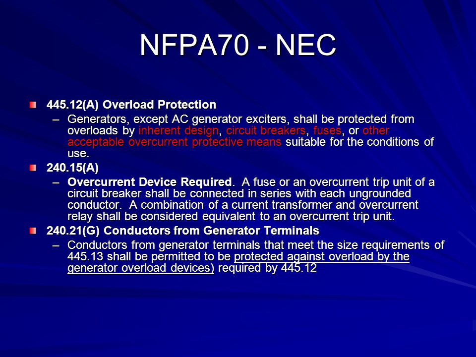 NFPA70 - NEC 445.12(A) Overload Protection