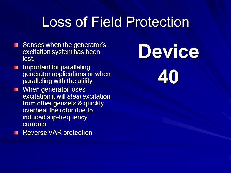 Loss of Field Protection