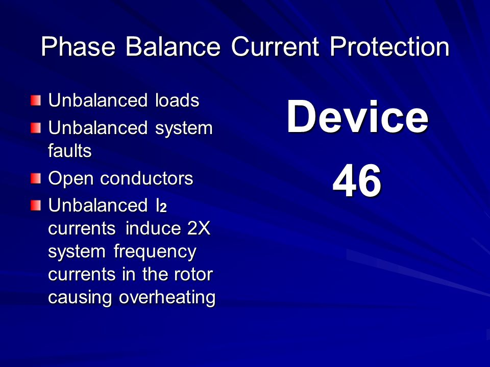 Phase Balance Current Protection