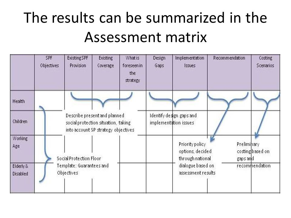 The results can be summarized in the Assessment matrix