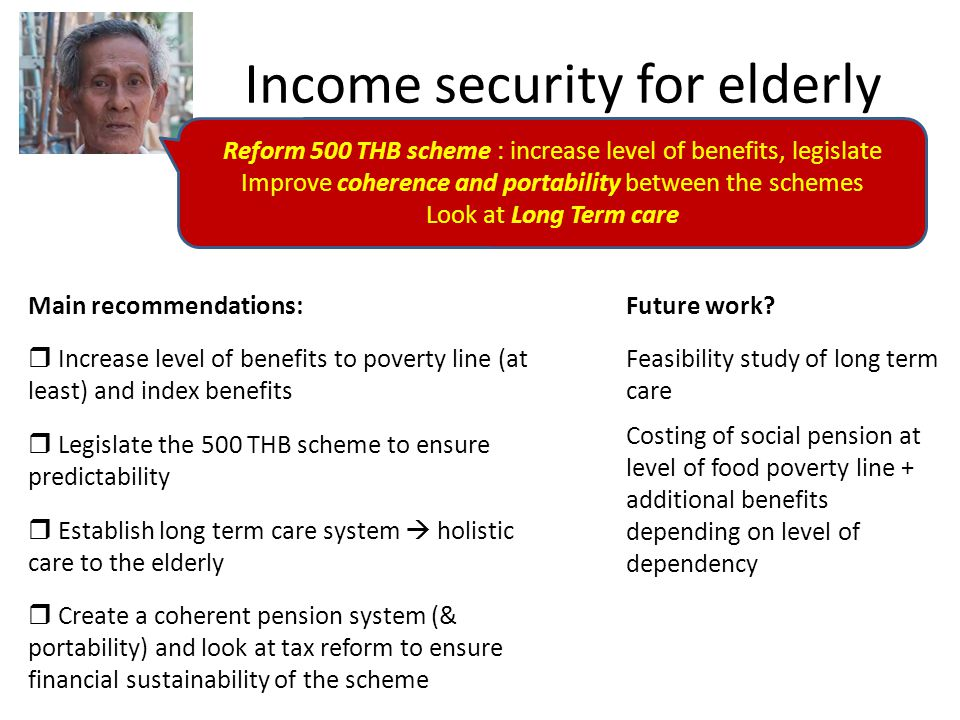 Income security for elderly