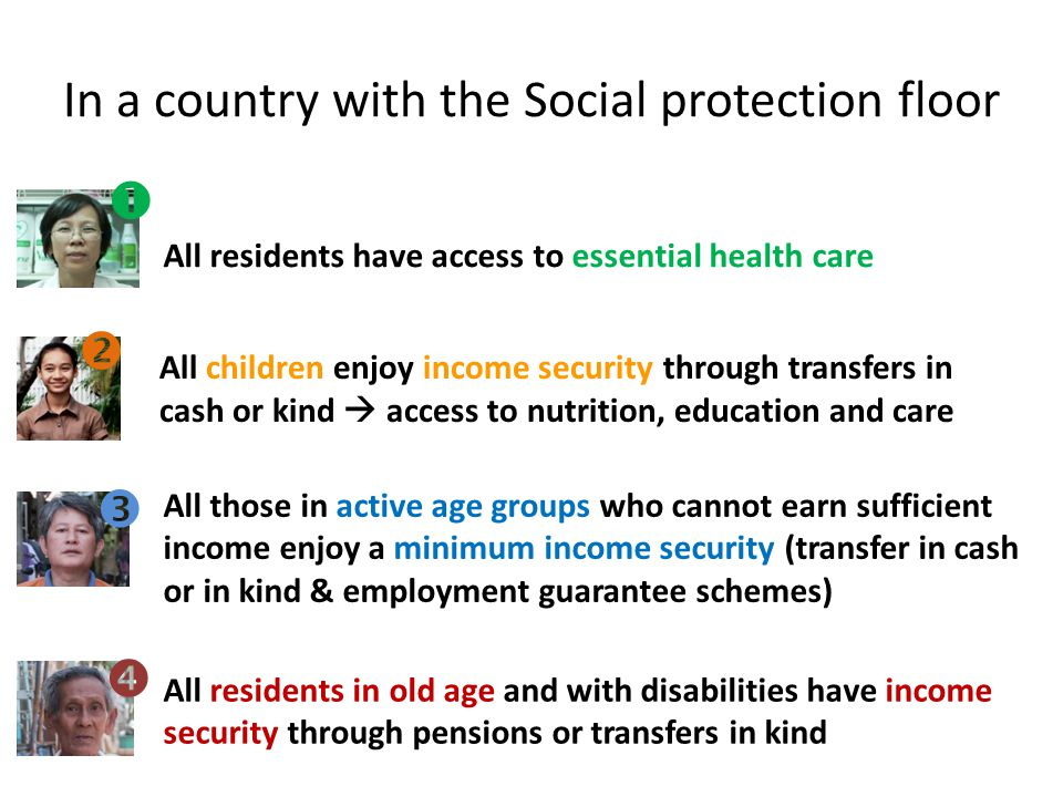 In a country with the Social protection floor