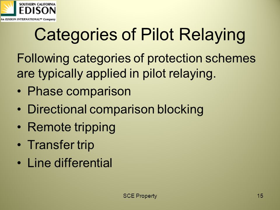 Categories of Pilot Relaying