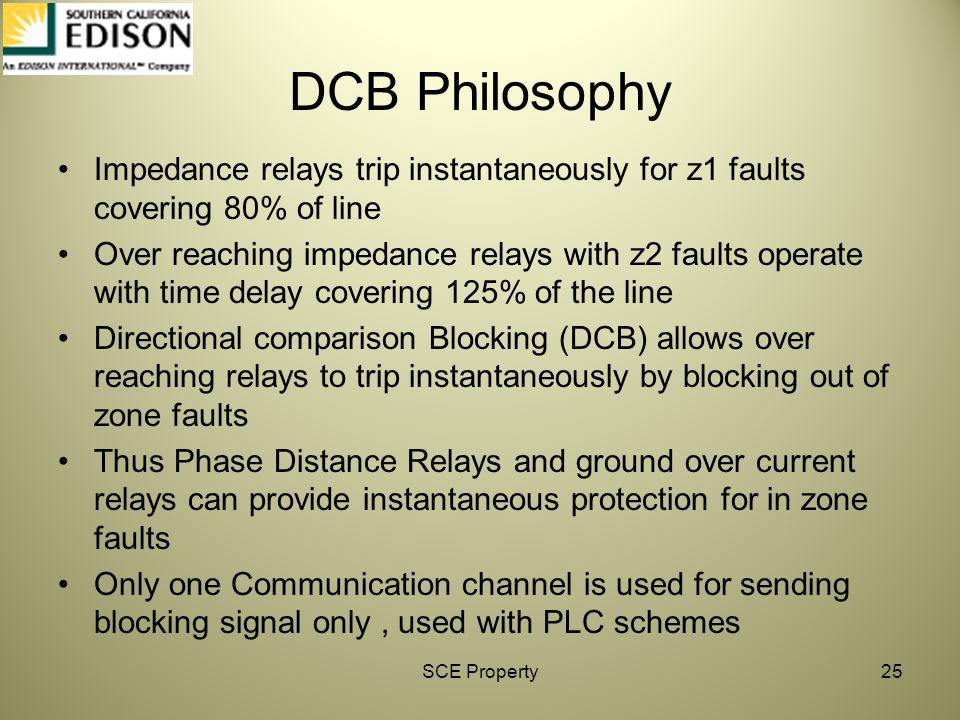 DCB Philosophy Impedance relays trip instantaneously for z1 faults covering 80% of line.